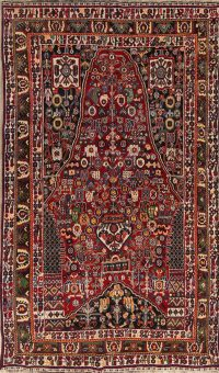 Tribal Geometric Kashkoli Shiraz Persian Hand-Knotted 5x8 Wool Area Rug