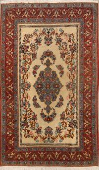 Vintage Floral Sarouk Qum Persian Area Rug 5x7
