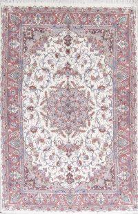 Wool/Silk Floral White Tabriz Persian Area Rug 6x10