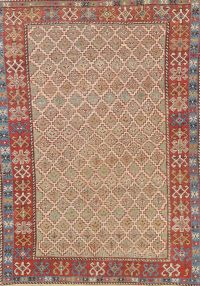 Pre-1900 Antique Vegetable Dye Shirvan Caucasian Rug Wool 3x5