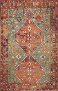 Pre-1900 Antique Vegetable Dye Tribal Kazak Area Rug 6x9