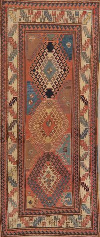 Pre-1900 Antique Vegetable Dye Kazak Oriental Runner Rug 4x9