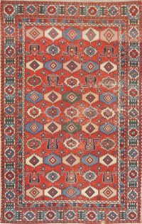Antique Vegetable Dye Shirvan Russian Area Rug Wool 4x6
