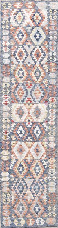 Flat-Weave Kilim Turkish Runner Rug Wool 2x9