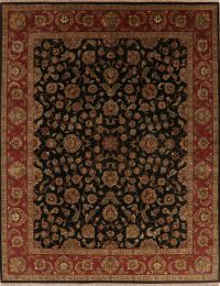Black Floral All-Over Agra Oriental Area Rug 8x10