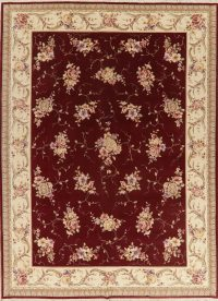 Floral Red Aubusson Oriental Area Rug 8x12