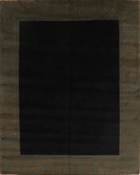 Black Geometric Nepalese Tibetan Area Rug 8x10