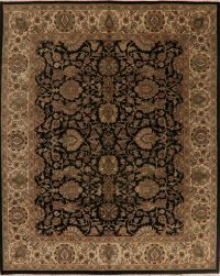 All-Over Black Floral Agra Oriental Area Rug 8x10