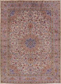 Vintage Floral Ivory Kashan Persian Area Rug 10x13