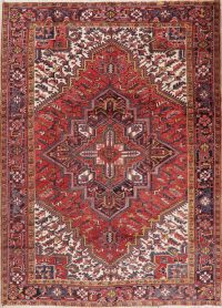 Vintage Geometric Red Heriz Persian Area Rug 8x11