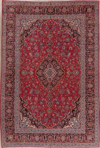 Vintage Floral Red Kashan Persian Area Rug 8x11