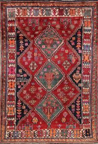 Geometric Red Shiraz Persian Hand-Knotted 5x8 Wool Area Rug
