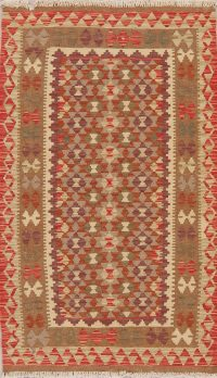 Flat-Weave Kilim Turkish Rug Wool 3x5