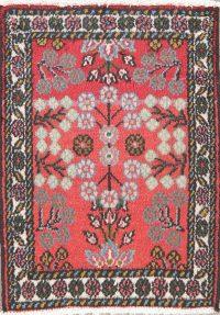 Coral Red Floral Hamedan Persian Wool Rug 2x2 Square