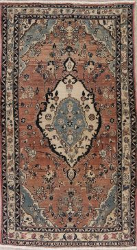Vintage Rust Floral Bakhtiari Persian Wool Rug 4x6