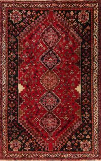 Tribal Geometric Red Abadeh Persian Area Rug 5x8