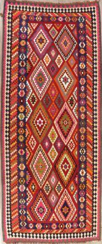 Wool & Silk Vegetable Dye Kilim Qashqai Persian Rug 5x12