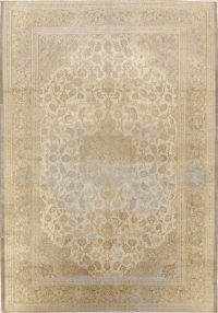 Muted Distressed Antique Kashan Persian Area Rug 7x10