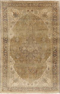 Muted Distressed Green Floral Kashan Persian Area Rug 6x9