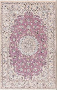 Light Purple Floral Nain Persian Area Rug 5x8