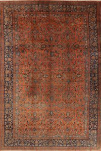 Antique Rust Floral Kashan Mohtasham Persian Area Rug 10x16