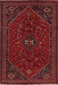 Antique Geometric Shiraz Red Persian Area Rug 7x10