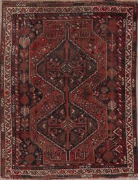 Navy & Red Tribal Geometric Lori Persian Area Rug 4x5