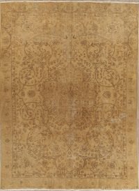 Muted Tabriz Persian 9x12 Wool Distressed Area Rug