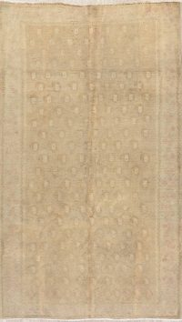 Antique Muted Gold Distressed Sarouk Persian Wool Rug 5x8