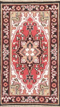 Geometric Red Heriz Indian Wool Rug 3x5