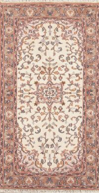 Floral Ivory Sarouk Indian Wool Rug 3x6