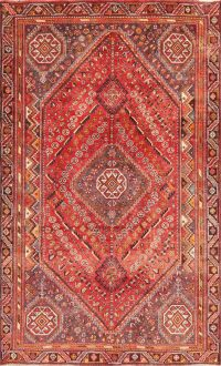 Vintage Red Tribal Abadeh Persian Wool Rug 5x8
