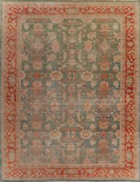 Antique Floral Oushak Green Turkish Area Rug 12x15