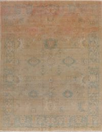 Antique Vegetable Dye Oushak Turkish Area Rug 8x10