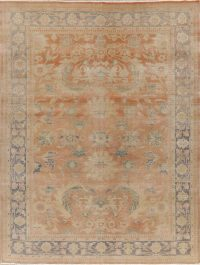 Antique Vegetable Dye Oushak Turkish Area Rug 8x11