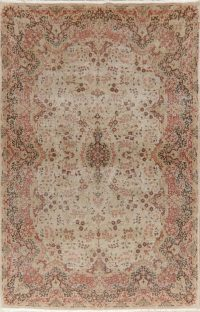 Vegetable Dye Floral Oushak Turkish Area Rug 7x11