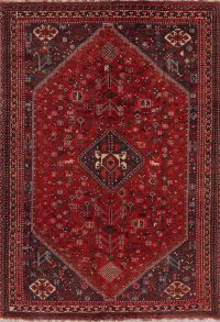 Antique Geometric Shiraz Red Persian Area Rug 7x10