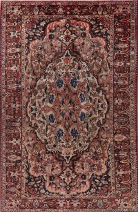 Ivory Floral Bakhtiari Persian Area Rug 7x11