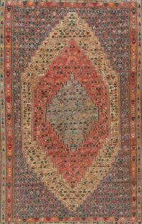 Geometric Antique Senneh Kilim Persian Area Rug 6x10