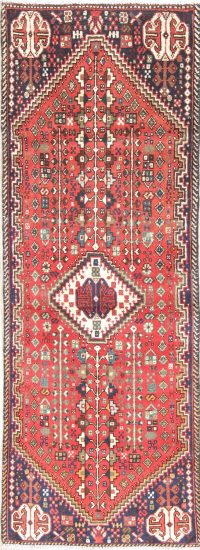 Tribal Abadeh Persian Hand-Knotted 2x5 Rust Red Runner Rug Wool