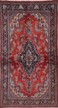 Traditional Floral Kashan Persian Wool Runner Rugs 3x6