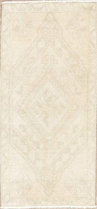 Muted Vintage Geometric Oushak Turkish Wool Rug 2x3