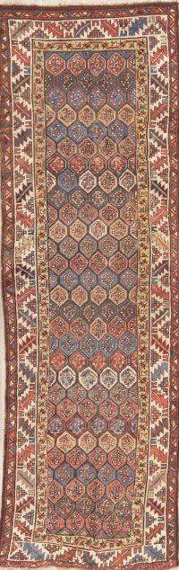 Pre-1900 Antique Vegetable Dye Kazak Caucasian Runner Rug 3x10