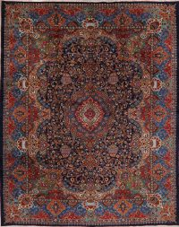 Navy Blue Pictorial Kashmar Persian Area Rug 10x13
