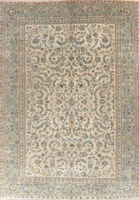 Antique Green Floral Kashan Persian Area Rug 10x14