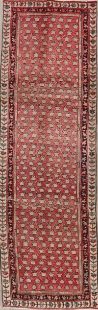 Antique Geometric Tabriz Red Persian Runner Rug 3x10
