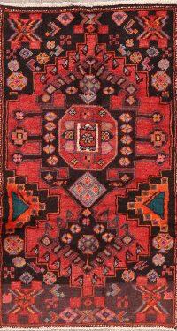 Vintage Geometric Hamedan Persian Runner Rug 2x5