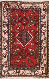 Vintage Red Geometric Hamedan Persian Area Rug 3x4