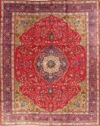 Floral Red Tabriz Persian Area Rug 10x13