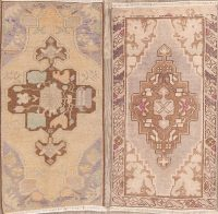Set of 2 Vintage Geometric Anatolian Turkish Area Rugs 2x3